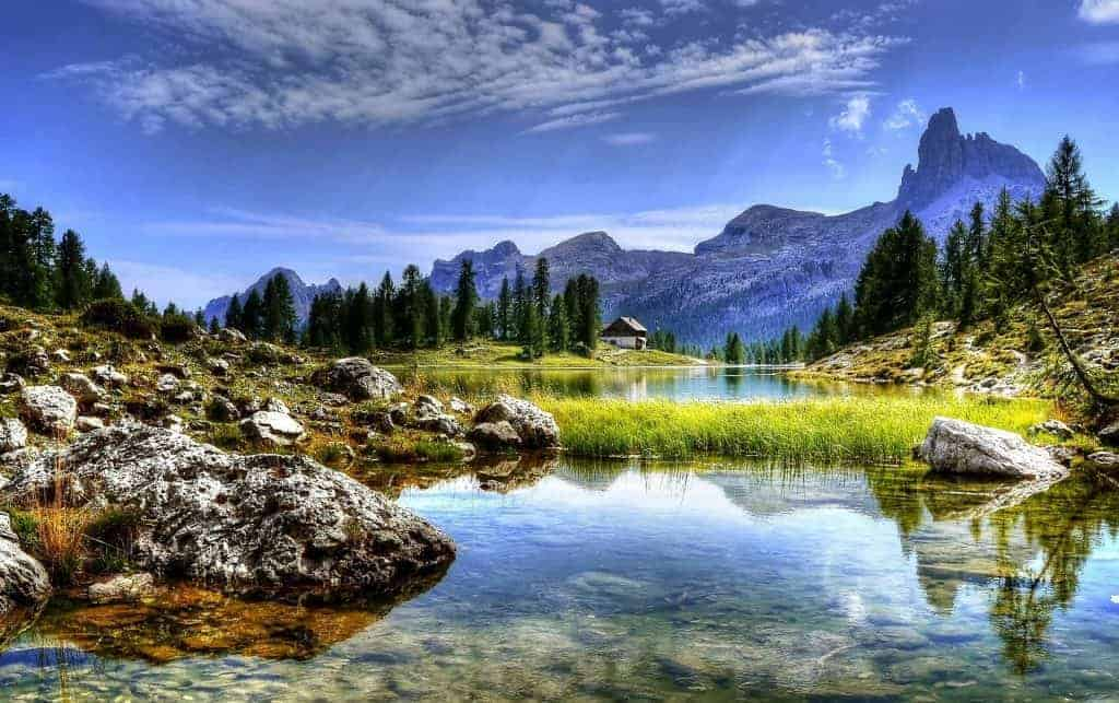 Mountain and lake landscape photo to demonstrate landscape photography tips for beginners.
